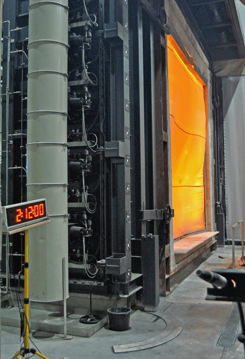 Fire curtain test